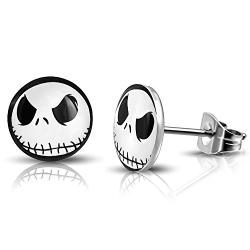 10 MM Stainless Steel Jack Skellington Round Circle Button Stud Post Earrings