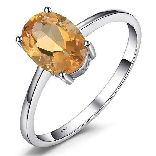 JewelryPalace Anillo de Compromiso para Mujer Plata de ley 925 con 1.1ct Oval Genuino Citrino Natural Piedra de nacimiento Solitario Tamaño 11