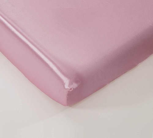 California Drapes Soft & Silky Satin Crib Fitted Sheet, Great for Babies with Sensitive Hair, Fully Elastic All Around for A Secure Fit (Light Pink)