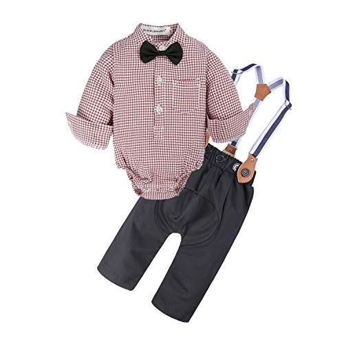 BIG ELEPHANT Baby Boys'2 Pieces Dresses Plaid Shirt Suspender Casual Suit with Bowtie NA12 18-24 Months Pink