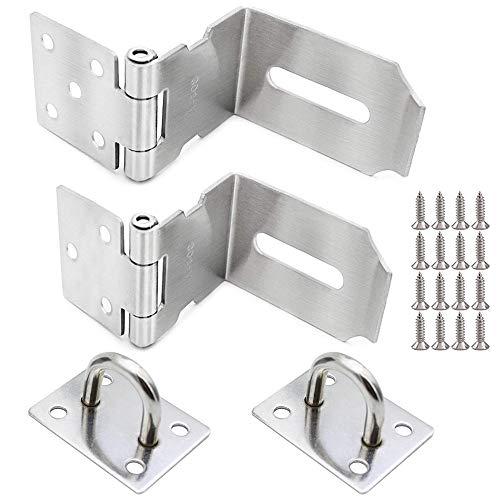 LumenTY 2 stuks 90° hangslot Overval Veiligheidsoverval Roestvrij stalen slot Inrichting deurbeslag met schroeven Veiligheidsinstallatie voor hangslot