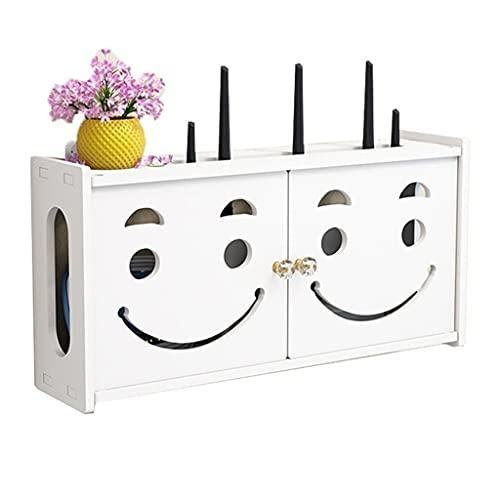 Estante de enrutador Caja de enrutador WiFi de Madera y plástico, Estante de Pared, Soporte de Placa de Enchufe Colgante, Caja de Almacenamiento, Organizador, contenedor Multifuncional para el hogar