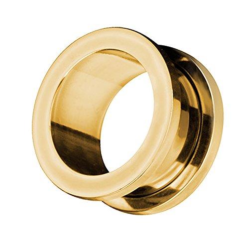 Taffstyle Túnel dilatador para la oreja, de acero inoxidable, con cierre de rosca, 10 mm, color dorado