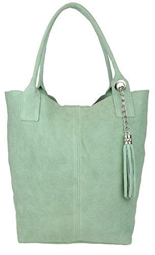 Girly Handbags Bolsa de hombro Top real italiana gamuza metálico abierto (menta)