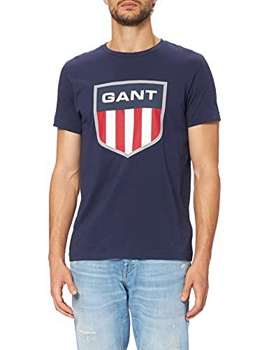 GANT T-Shirt D1. Camiseta Retro Shield SS, Evening Blue, M para Hombre