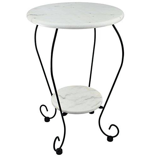 My-goodbuy24 Beistelltisch Blumenhocker Bistrotisch Gartentisch Bistro-Tisch weiß - Marmorplatte - Unikat durch Naturstein - Gestell aus Gusseisen Ø25cm x Ø41cm - 59cm