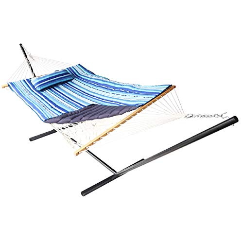 VEIKOU 2 Person Portable Hammock with Stand and Pillow, Double Freestanding Quilted 12ft Hammock with Frame and Spreader Bars, Striped Blue