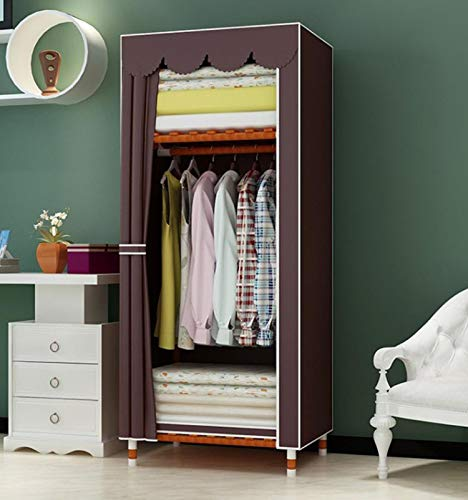 Xinwanhong Closet Fabric Closet, Fabric Wardrobe Fabric Wardrobe Fabric Folding Cabinet with Clothes Rail Washable Oxford Fabric Shelf Cloakroom,Brown