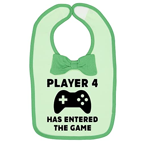 Unisex Player 4 Game Infant Funny Baby Feeding Bib with Bow Tie Green One Size