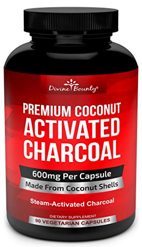 Organic Activated Charcoal Capsules - 600mg Coconut Charcoal Pills - 90 Veggie Caps