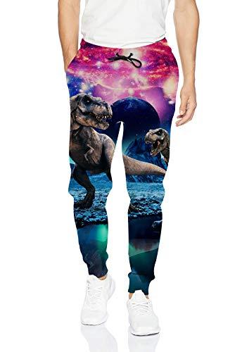 Uideazone Men Women 3D Printed Dinosaur Sport Joggers Pants Casual Sweatpants Dinosaur Large