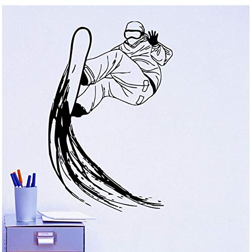 MINGKK Wandaufkleber Skifahrer Skifahren Wandaufkleber Extreme Skifahren Sport Wohnkultur Vinyl Abnehmbare Silhouette Wandtattoos Jungen Zimmer Snowboard Wandbilder 59x86 cm