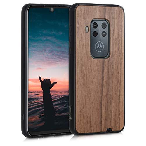 kwmobile Bumper Schutzhülle kompatibel mit Motorola One Zoom - Holz Hülle Handy Hülle Cover Dunkelbraun