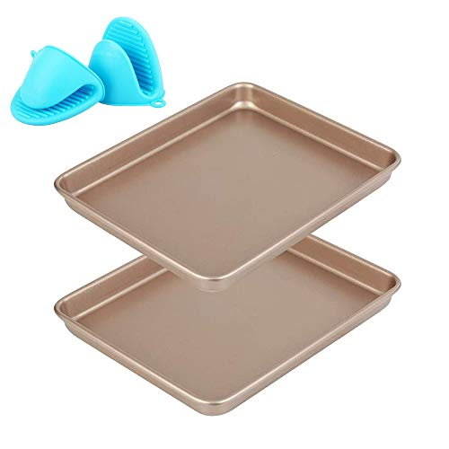Baking Sheet Pans Cookie Sheet, Baking Sheet & Mini Oven Gloves [2 Sheets + 1 Pairs],11 Inch Nonstick Bakeware Cookie Pan Set,Heavy Duty & Easy Clean