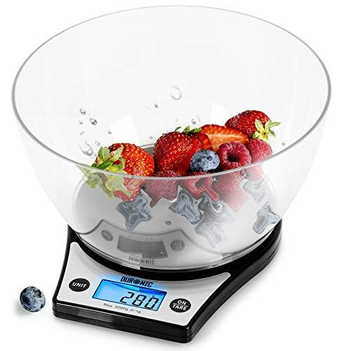 Duronic KS6000 BK Bilancia da cucina | Bilancia ad alta precisione con display digitale retro illuminato | Portata 1g / 5 kg con ciotola da 2 l | Piattaforma nera | Funzione Tara | Ideale per cucina
