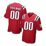 Maillots de Football américain Patriots personnalisés Brady,Maille et vêtements de Sport Respirants pour Hommes et Femmes Jeunes Noms et numéros T-Shirt de Rugby Haut brodé-Red~1-S