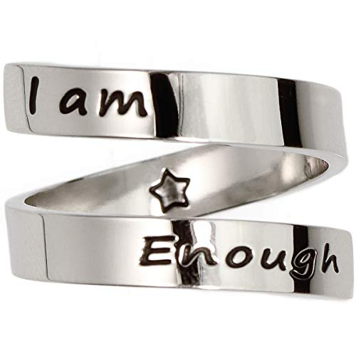 Suyi Inspirational Rings for Women Girls Encouragement Adjustable Ring Mantra Engraved Jewelry with Gift Box I Am Enough