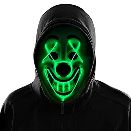 KATELUO Máscara LED Halloween, Halloween Mascaras LED Máscaras Carnaval, Máscara Disfraz Luminosa, Máscara de Payaso con 3 Modos de Flash para Carnival Halloween Cosplay Fiesta Show Mascarada