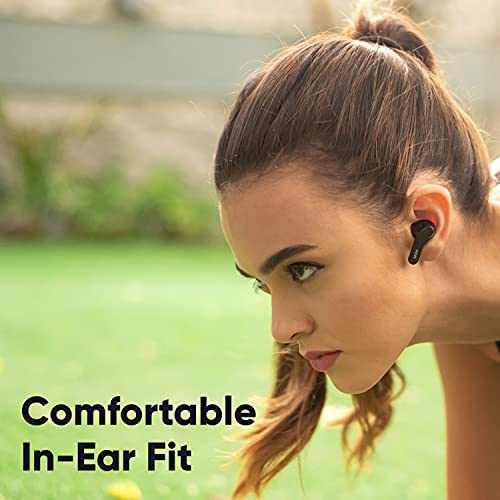 Mivi DuoPods A25 True Wireless Earbuds with 40Hours Battery, 13mm Bass Drivers & Made in India. Bluetooth Wireless Earbuds with Immersive Sound Quality, Voice Assistant, Touch Control - Black