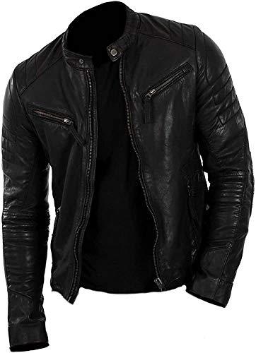 Classyak, giacca in vera pelle da uomo, stile motociclista Lamb Leather Black XS-Per petto 46-48