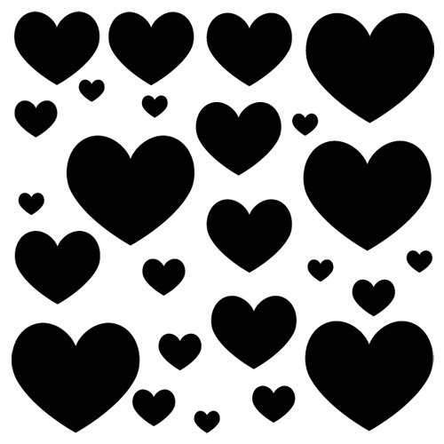 Sticker Coeurs x 25 Noir 80x80 cm