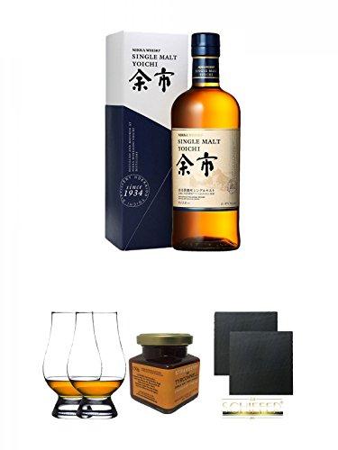 Nikka Yoichi Single Malt Whisky 0,7 Liter (45%) + The Glencairn Glass Whisky Glas Stölzle 2 Stück + Tyrconnell Erdbeer Marmelade 150 Gramm Glas + Schiefer Glasuntersetzer eckig ca. 9,5 cm Ø 2 Stück