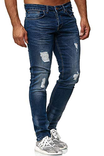 Tazzio Slim Fit Herren Destroyed Look Stretch Jeans Hose Denim 16525, Blau, 36W / 32L