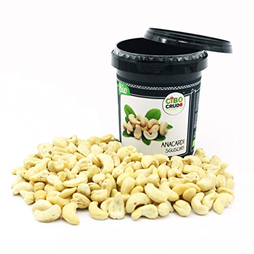 Cibocrudo Anacardi Sgusciati Biologici Crudi, Raw Organic – 250Gr – Anacardi Bio al Naturale Non Tostati e Non Salati, Energizzante Naturale, Etichette in Italiano