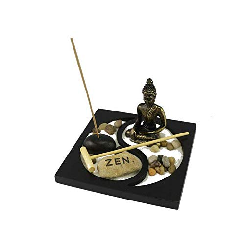 UgyDuky Tabletop Zen Garden Taiji Incense Holder with Buddha, Rake, Sand, Rock Garden Peace and Tranquility - for Home Decor Gift, Meditation, Relax