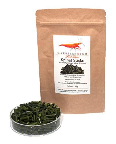 GARNELEN4YOU® Spinat Sticks, 50 g hochwertige Futter Pellets zur entspannten Fütterung von Aquarienbewohnern wie Garnelen, Krebse und Schnecken, 1x 50g