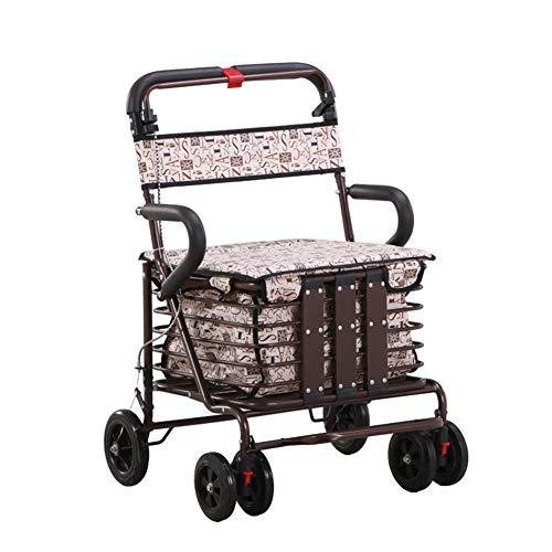 XIALIUXIA Plegable Andador para Ancianos/Aluminio/Asiento Y Respaldo/Frenos por Presión/Andadores Ancianos 4 Ruedas/Frenos por Presión
