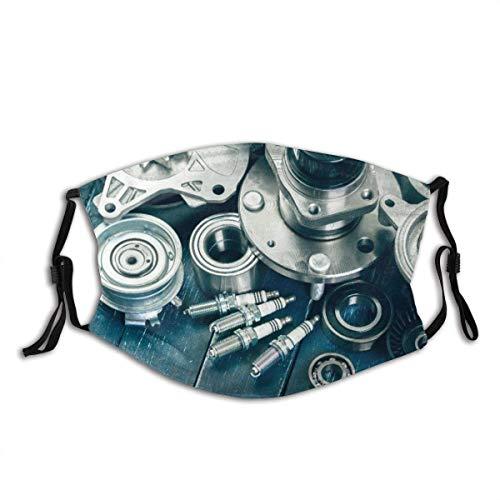 Mundschutz Spare White Auto Verschiedene Autoteile Kfz-Servicemechaniker Unisex Waschbarer und wiederverwendbarer Gesichtsschal für den Außenbereich