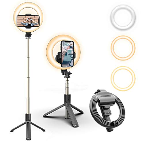 Selfie Ring Light with Tripod Stand Phone Holder Portable Dimmable LED Ring Light Rechargeable Selfie Stick with Bluetooth Remote Control for Live Stream,Makeup, YouTube Video…