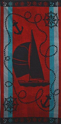 Betz Velours Strandtuch Duschtuch Badetuch XXL 100% Baumwolle Größe 75x150cm Dessin: Boot Farbe: rot