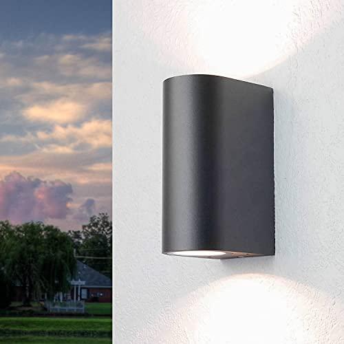 Lámpara pared exterior/redonda/color antracita/aplique Up & Down / IP44 / 2x GU10 hasta 35W/lámpara de pared exterior, iluminación de patio y jardín