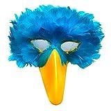 SACASUSA (TM Turquoise Blue Feather Bird Mask with Yellow Beak