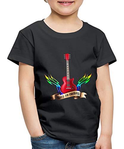 Guitars and Wings Keep On Rocking Gitarre Kinder Premium T-Shirt, 98-104, Schwarz
