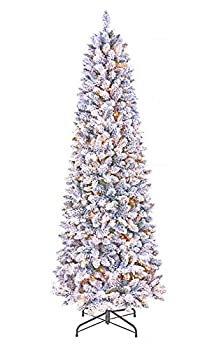 GOLDSTAR Artificial Pre-Lit Flocked Pencil Christmas Tree 7.5 Feet–Beautiful Crafted Flocked Snow Skinny Slim Christmas Tree with 500 UL Certified Warm White Lights for Holiday Decoration