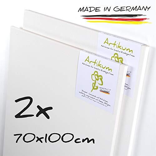 ARTIKUM 2X Student KEILRAHMEN 70x100cm   Leinwände auf Keilrahmen 70 x 100 cm   Leinwandtuch vorgrundiert, malfertige bespannte Keilrahmen mit Leinwand, große Leinwände