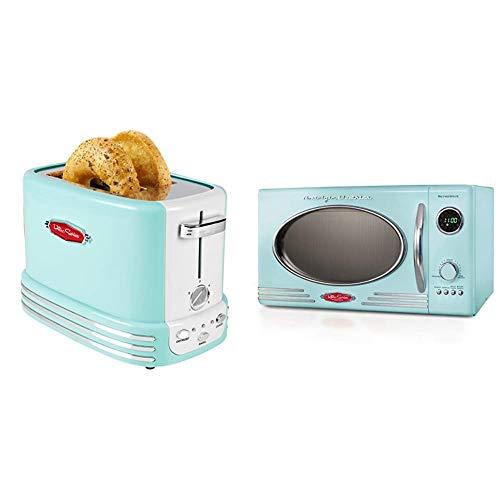 Nostalgia Retro Aqua Microwave and Toaster Bundle