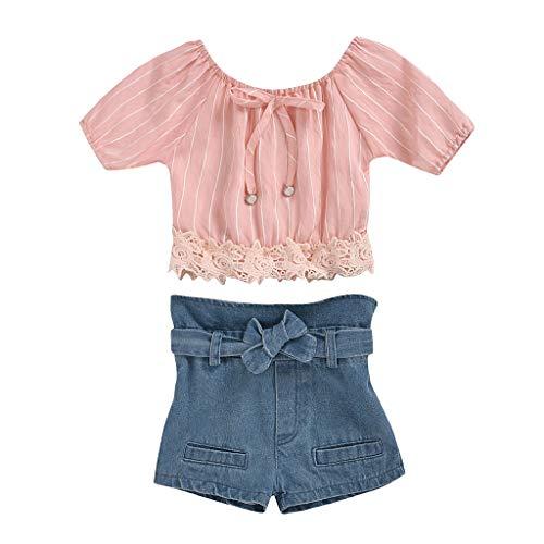 LEXUPE Kleinkind Kinder Baby Mädchen Schulterfrei Streifen Spitzen Tops + Bow Denim Shorts Set(B-Rosa,110)