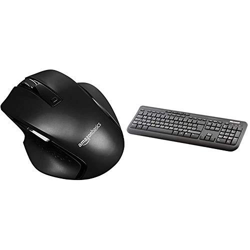 Amazon Basics - Ergonomische kabellose Maus mit Schnell-Scrolling, kompakte Größe - Schwarz und Microsoft Wired Keyboard 600 (Tastatur kabelgeb&en, schwarz, deutsches QWERTZ Tastaturlayout)