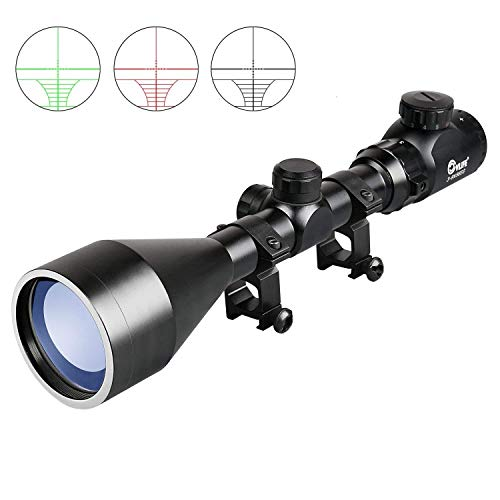 CVLIFE 3-9X56 Rifle Scope Red and Green Mil-dot Illuminated Hunting Optics with Free Mounts