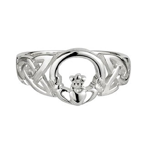 Claddagh Ring For Women Made in Ireland Silver Celtic Weave Design with Claddagh Center Made in Co. Dublin by Maker-Partner Solvar Size 10