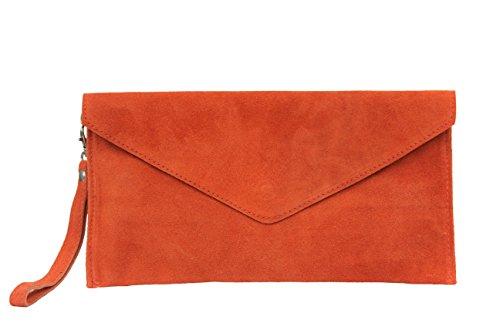AMBRA Moda Damen Wildleder Envelope Clutch Abendtasche Partytasche Handschlaufe Suede Handgelenktasche Schultertasche Umhaengtasche Unterarmtasche Damentasche Veloursleder WL801 (Orange)