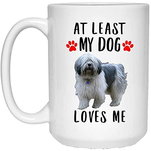 N\A Divertido Perro Pastor Polaco de Las Tierras Bajas Crema Azul al Menos mi Perro me ama Taza de café con Leche