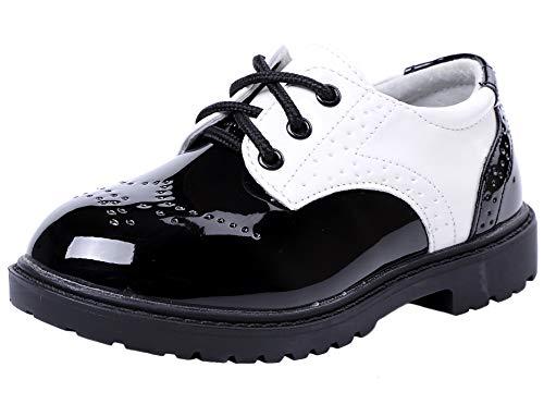 DADAWEN Boy's Lace-Up School Uniform Shoes Oxford Dress Shoes White 8 UK...