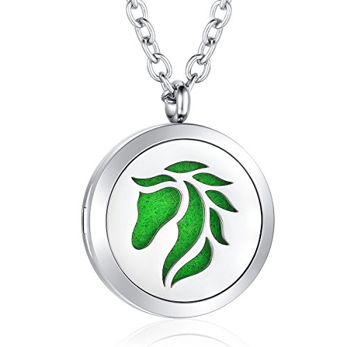 Essential Oil Diffuser Necklace Horse Aromatherapy Locket Stainless Steel Pendant Jewelry for Women Girls Boys