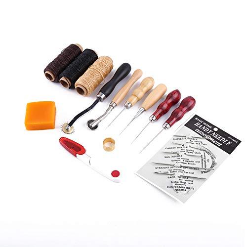 Demeras Herramienta de Costura Manual Artesanal, Hilo de Coser de Cuero, Aguja de Coser, Herramientas de Costura de Cuero DIY para Coser a Mano, artesanía de Cuero