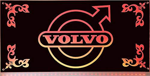 VOLVO LED-Leuchtschild 60x30cm ✓ LKW Rückwandschild ✓ Ideale Geschenkidee ✓ 18 LEDs ✓ Lasergraviert | Edles Neonschild als Truck-Accessoire | Beleuchtetes VOLVO Logo-Schild für den 24Volt-Anschluss